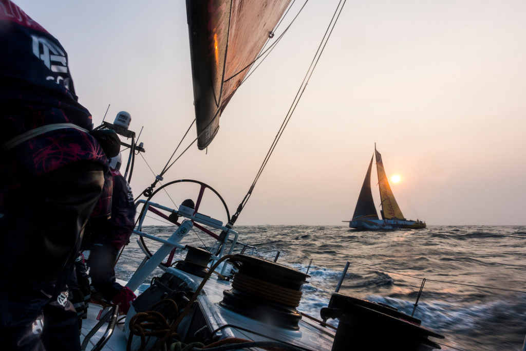 February 8, 2015. Leg 4 to Auckland onboard Team SCA. Day 0. The team head out of Sanya ahead of Abu Dhabi Ocean Racing.